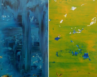 "Set of 2 Abstract Paintings ""Citrine Delight +Vivid Azurite"" Original Diptych - Minimalist Art in Acrylic on Wood Panel - Blue and Yellow"
