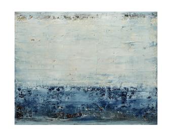 ORIGINAL Abstract Painting on Wood, Coastline by Lisa Carney, Large Contemporary Seascape, Colorfield, Minimalist, Blue, White, Coastal, Sea