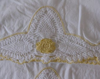 Vintage Pillowcases, Two Matching Pillowslips, White with White and Yellow Lace Embroidery, Hand Needlework, Crochet, Fancy Edge