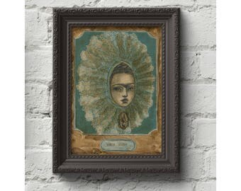 Frida Kahlo as Tehuana. Original mixed media painting in pencil watercolor and collage by Danita Art. Self portrait homage Danita's style.