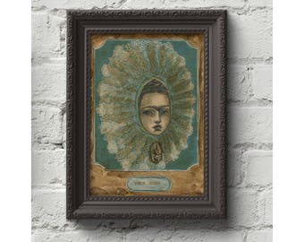 Frida Kahlo as Tehuana. Original mixed media painting in pencil watercolor and collage by Danita Art. Self portrait homage Danita's style.