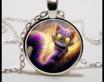 Photo Pendant - Cheshire Cat 1 inch Round Glass Image Pendant with 22 inch Sterling Silver Necklace