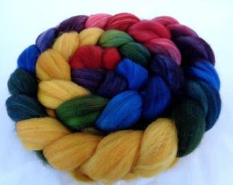 4oz, superwash merino roving, wool roving, handpainted roving, hand dyed roving, spinning fiber, roving wool, yellow, red, blue , 115g