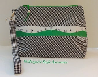 GOLF Lined Zippered Wristlet for your Golf Balls Tees Phone Markers Gloves  Perfect Gift