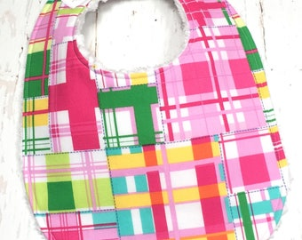 Bright Plaid Baby Bib for Baby Girl - Single Bib - Triple Layer Chenille - Pink, lime, yellow - PINK MADRAS PLAID