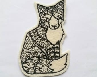 Cream and black tribal fox patch applique - patches for jackets - felt patches