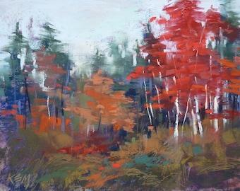 Autumn CONTEMPORARY landscape Red Trees  Original Pastel Painting  Karen Margulis 9x12