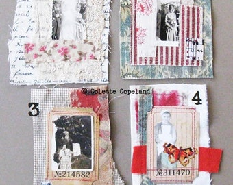 Mini art quilt, handstitched, paper and fabric, featured in SEW SOMERSET magazine