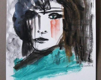 Mixed media on paper, portrait, woman, original painting
