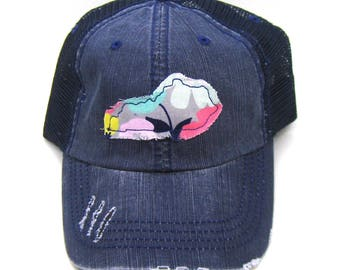 Kentucky Hat - Navy Blue Distressed Trucker Hat - Retro Floral Applique - All States Available