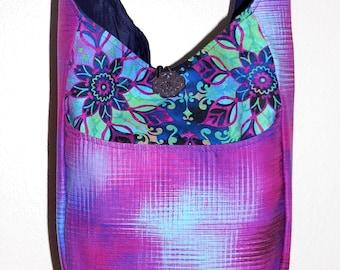 Floral Mosaic Hobo Bag - Sling Bag Crossbody, Mosaic Designs, Gradient Fabric, Slouchy Bag, Boho Style, Tile Mosaic, Adventure Bag