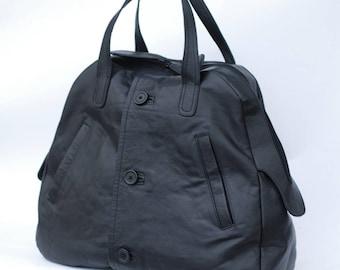 Black leather handbag, up-cycled leather, reused leather bag