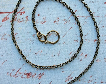 16 inch Antiqued Brass Plated Chain Necklace