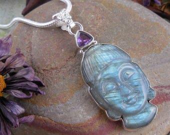 Labradorite & amethyst sterling silver pendant/necklace