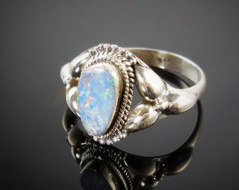 White fire opal sterling silver ring - size 8.5