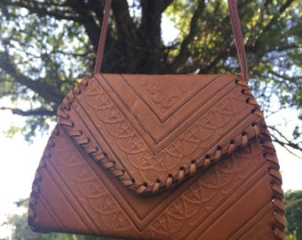 Vintage Morccan Magic Purse/Tooled Leather Bag/Small Leather Bag