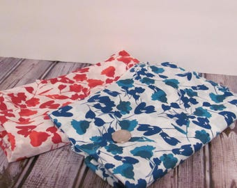 Red and Blue Floral Print Fabric