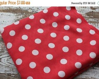 SALE- Polka Dot Fabric-Summertime Dress Fabric--Lightweight Blend-Rayon-Pink Red