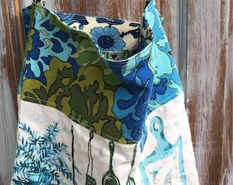 Tea Towel Market Tote-Upcycled Fashion-Kitschy-Boho Style
