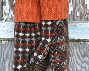 Wool Retro Mittens- Upcycled Fashion-Brown and Orange-Sweater Mittens