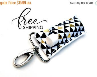 ON SALE LippyClip™ Lip Balm Holder for Chapstick, Burt's Bees, etc.   Black and Gold Triangles Holder for Chapstick