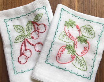 Strawberries and Cherries Hand-embroidered Dish Towels