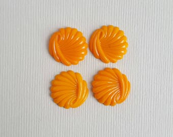 Vintage orange glass swirl cabochons