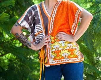 "Lorimarsha Top ""Sunflowers snd Stripes"" from vintage Vera silk scarves Med/Lg"
