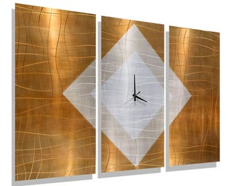Copper, Gold & Silver Modern Metal Wall Clock - Contemporary Art - Clock Accent - Large Clock - Timepiece - Shifting Sands Time by Jon Allen
