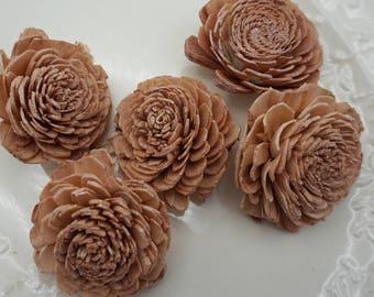 Rose Gold Sola Bali Wood Flowers- qty 5