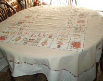Vintage Tablecloth Colonial Kitchen 52 x 64 inches