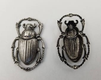 55mm x 35mm Antique Silver Beetle #ZWS012