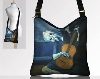 Bohemian Hippie Bag Hobo Purse Crossbody Bag Gyspy Bag Boho Bag Handbag Old Guitarist Pablo Picasso Art Purse  Guitar Blue Brown Black MTO