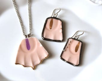 Broken China Jewelry Pendant and Earring Set- Pink and Gold
