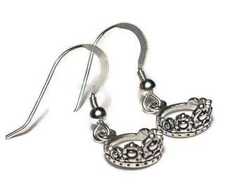 Tiara Earrings Sterling Silver Dangle Style Crown Princess Royalty
