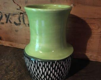 SALE Mod Porcelain Vase green black white