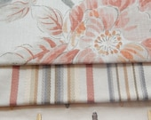 CLEARANCE - 3 pieces orange ivory blue multi fabrics, 7.5 x 9 inches