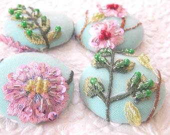SPRING COLLECTION - 4 aqua pink yellow floral beaded embroidered fabric buttons, 1.5 inches, 3.81 cm, 38.1 mm, size 60 buttons