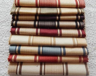 CLEARANCE - 9 pieces wide stripe silky fabric, each 6 x 9 inches