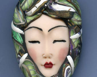 Polymer Clay OOAK   Detailed Asian  Art Doll Face with Faux Fabric Clay  hat Cab  ASN 8