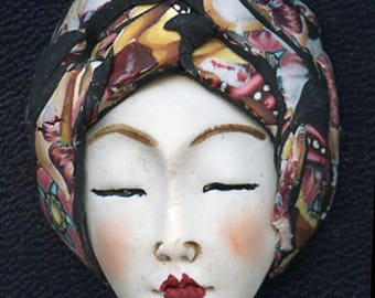 NEW ! OOAK Polymer Clay One of a kind Detailed   Face with Layered Abstract Hat ACNH1