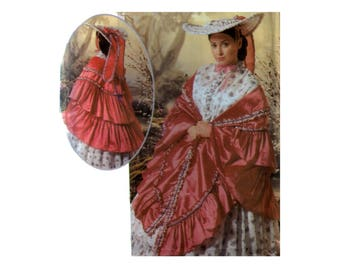 Original uncut Victorian Hat Costume pattern One Size Dickens Faire Plus Size Ruffled Mantle Bonnet GWTW Caroling costume Simplicity 9444