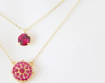 SALE Ruby Layering Necklace