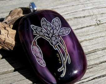 Purple Fused Glass Lily Pendant