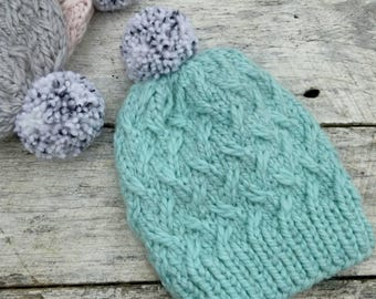 Squishy alpaca knit hat. Laurel beanie. Soft ice blue luxe yarn. Finished product. Women's/tweens winter hat. Pompom toque. Mint winter hat.