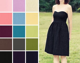 Sweetheart style Linen blend dress with pockets knee length – Custom Bridesmaid country wedding – black burgundy teal lilac