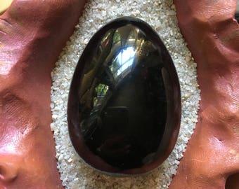 Black Obsidian Yoni Egg gemstone size medium root chakra crystal healing