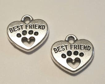 Reserved for Susan F. - Paw Print Charms - 50 pc- Best Friend Charm - Heart Paw Print - Silver Paw Print - Silver Dog Charm -  Dog Paw Charm