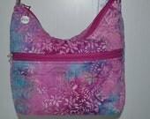 Quilted Fabric Handbag Hobo Slouch Purse with Beautiful Fushia/Aqua Batik Fabric