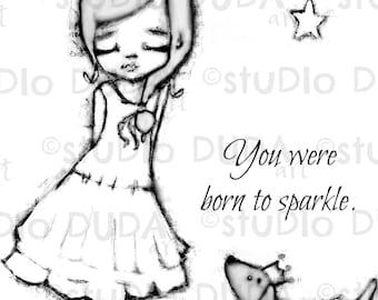 Born to Sparkle 2 Versions Digital Stamp - Printable - Art to Color by STUDIODUDAART